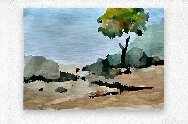 Tree sand water  Metal print