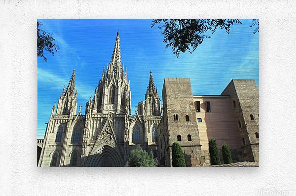 Amazing Barcelona Cathedral  Metal print