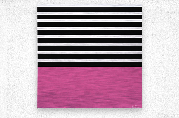 Black & White Stripes with Cranberry Patch  Metal print