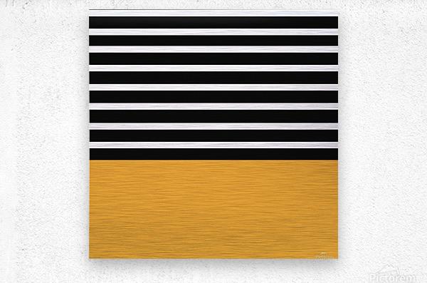 Black & White Stripes with Honey Patch  Metal print