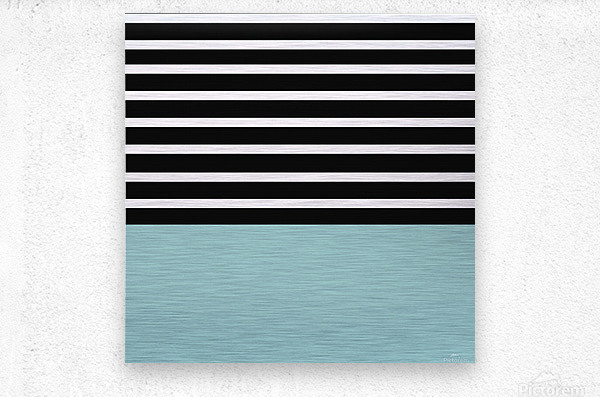 Black & White Stripes with Mist Patch  Metal print