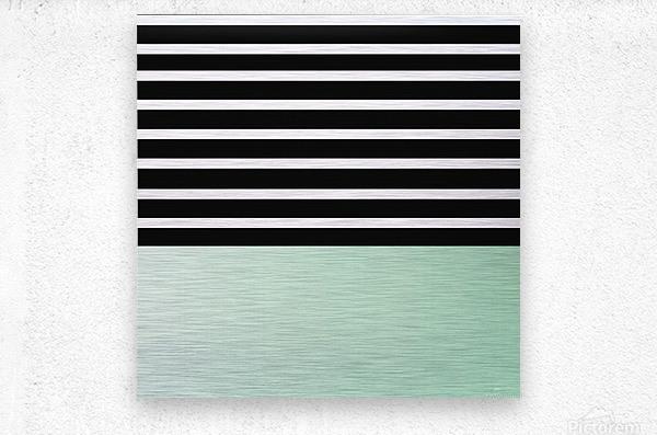 Black & White Stripes with Green Patch  Metal print