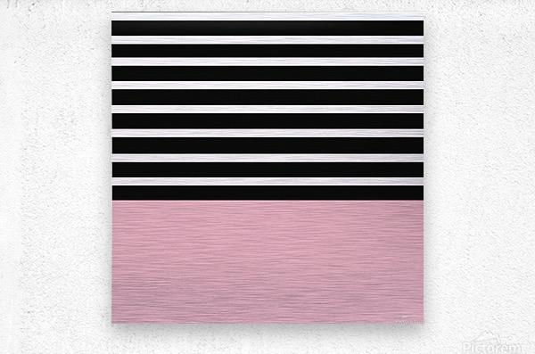 Black & White Stripes with Beauty Bush Patch  Metal print