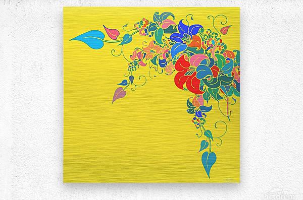 Vibrant Floral Design   Metal print