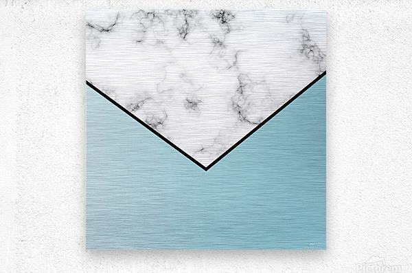 ABSTRACT BLUE TINT MODERN MARBLE  Metal print