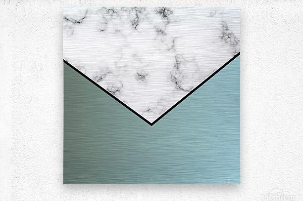 ABSTRACT GRAYISH BLUE MODERN MARBLE  Metal print