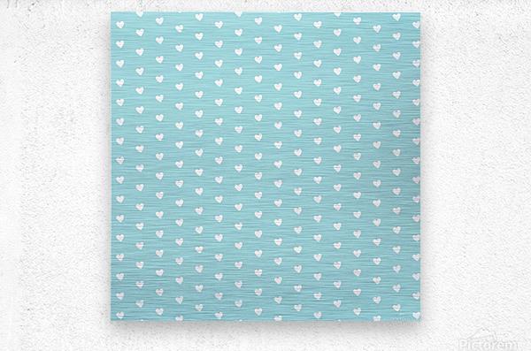 Light Blue Heart Shape Pattern  Metal print