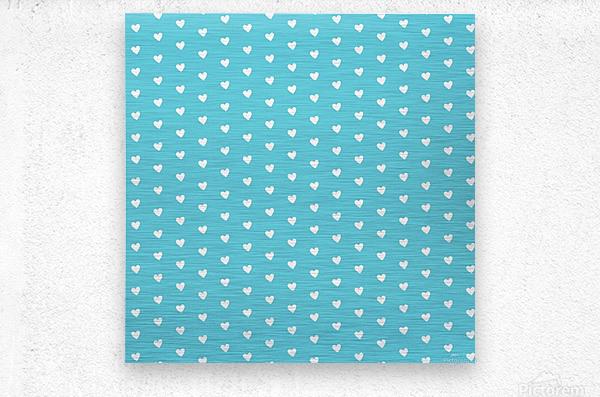 Sweet Light Blue Heart Shape Pattern  Metal print