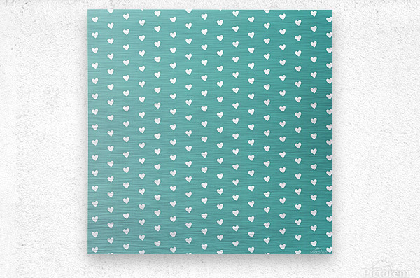 Teal Green Heart Shape Pattern  Metal print