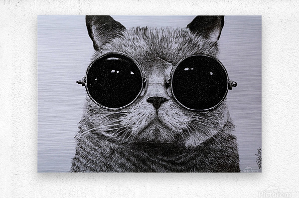 The Cat with glasses  Metal print