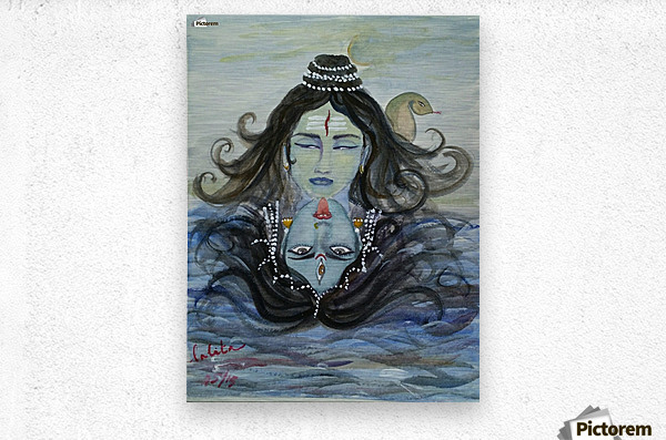 Shiva shakthi   Metal print