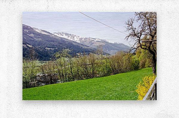 Niedernsill Landscape Austrian Alps  Metal print