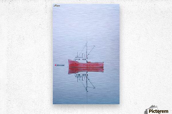 New Brunswick - fishing boat reflected in water  Metal print