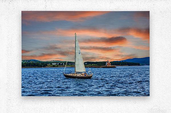 Sailboat and Lighthouse  Metal print