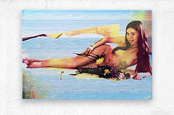 a mermaid in her home  Metal print