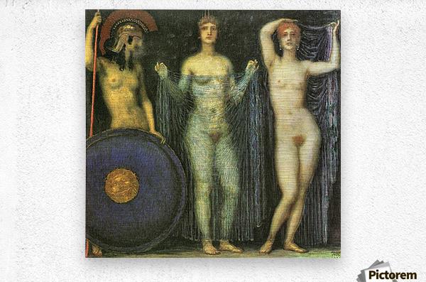 The three Goddesses Athena, Hera and Aphrodite by Franz von Stuck  Metal print