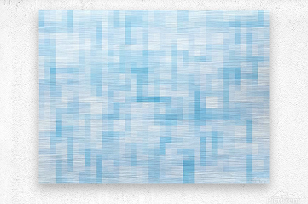 geometric square pixel pattern abstract in blue  Metal print