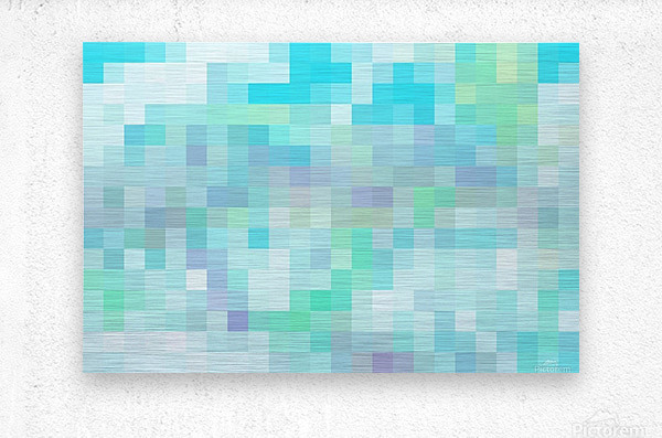 Abstract Pixel Picture -Ocean shades   Metal print