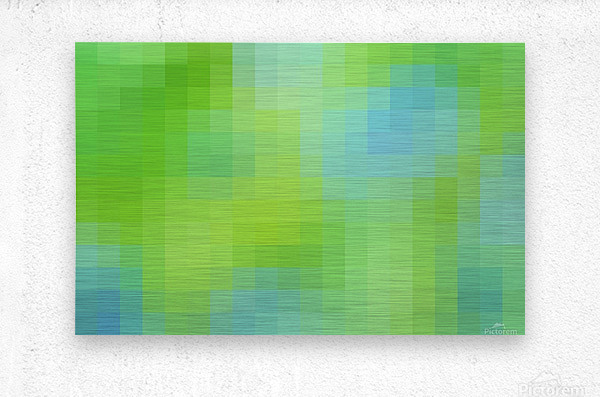 Abstract Pixel Art - blue and green 2  Metal print