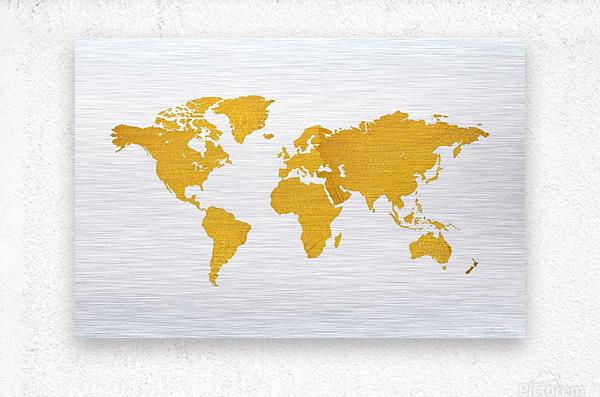 Golden World Map - White Background  Metal print