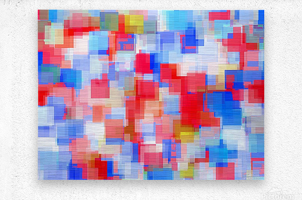 geometric square pattern abstract background in red and blue  Metal print
