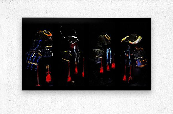 Memories of Samurai Black Armour Collage  Metal print