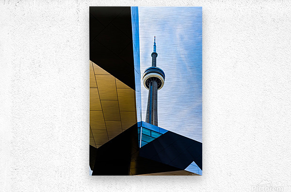 A tower in the sky  Metal print