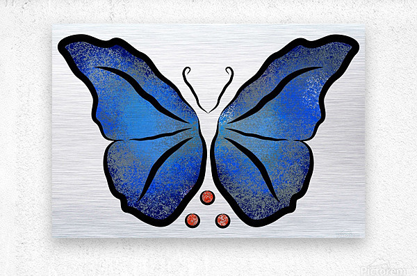 Deonioro - deep blue night butterfly with pearls  Metal print
