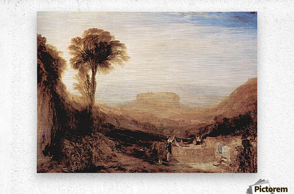 View of Orvieto, painted in Rome by Joseph Mallord Turner  Metal print