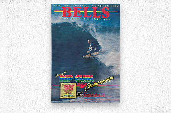 1983 RIP CURL BELLS BEACH EASTER Surfing Championship Competition Print - Surfing Poster  Metal print