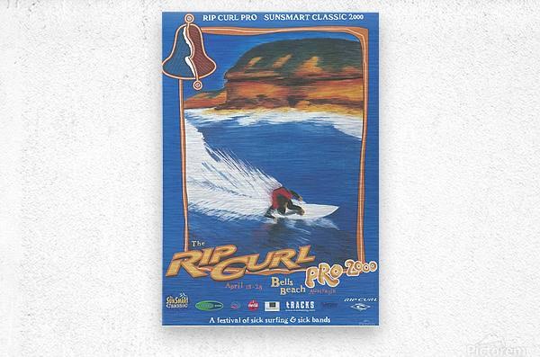 2000 RIP CURL PRO BELLS BEACH EASTER Surfing Championship Competition Print - Surfing Poster  Metal print