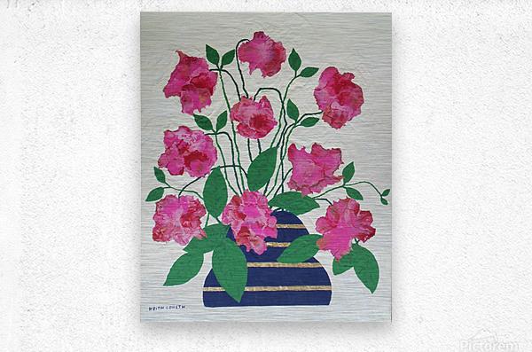 Flowers in navy blue vase   Metal print