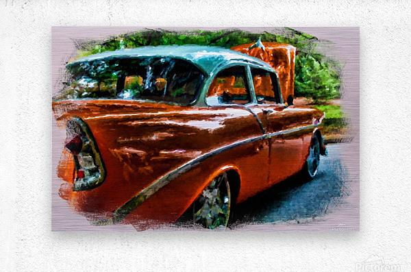 Classic Orange Car in Park Painting  Metal print