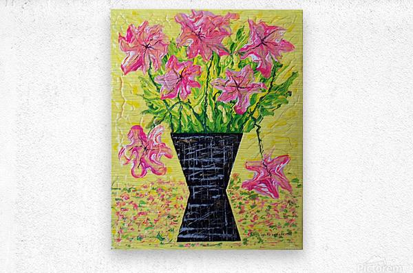 Pink Flowers in vase   Metal print