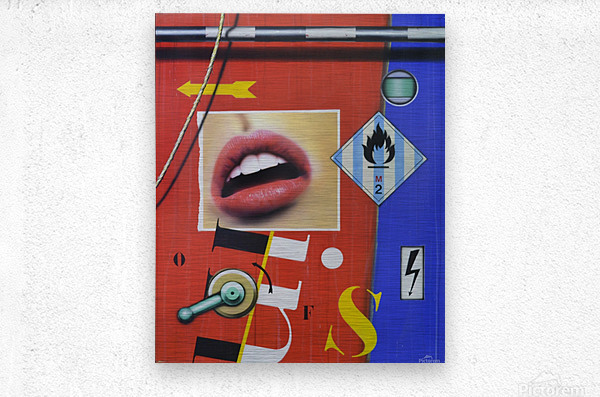 Blue Red Mouth  Metal print