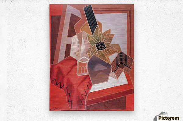 Flowers on the table by Juan Gris  Metal print