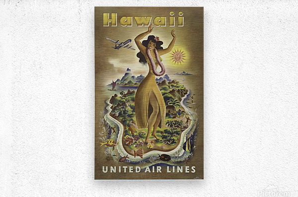 HAWAII TRAVEL POSTER  Metal print