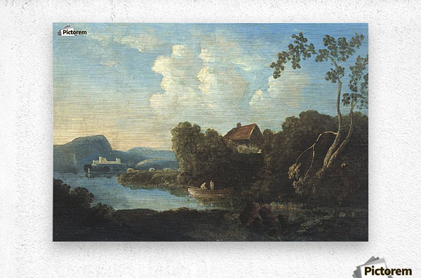 Two men in a boat  Metal print