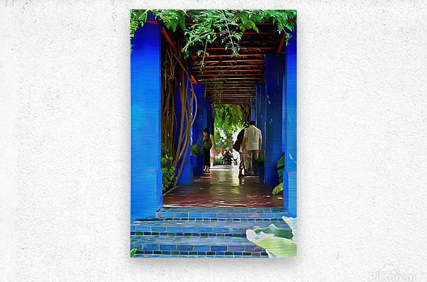 Shady Blue Walkway Marrakech  Metal print