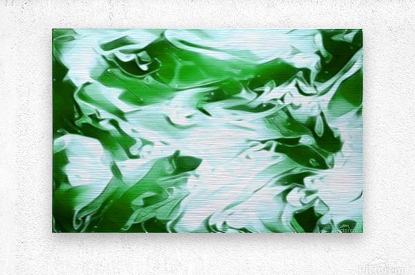 Clover - green white abstract swirl wall art  Metal print