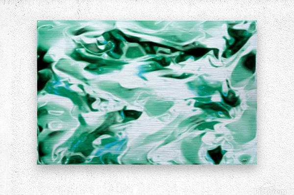 Icicles - turquoise white abstract swirls wall art  Metal print
