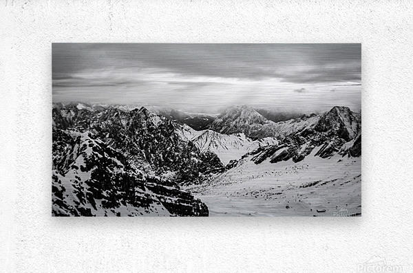 Zugspitze in black and white  Metal print