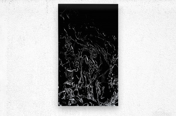 Infinite - black white gradient polygons swirls large abstract wall art  Metal print