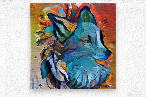 The Blue Wolf  Metal print