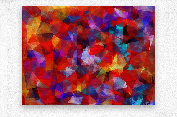 geometric triangle pattern abstract background in red blue yellow  Metal print