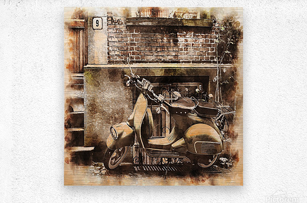 moped scooter parked building  Metal print