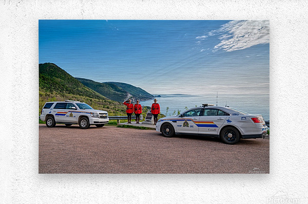 RCMP with cruisers at French Mountain Monument  Metal print