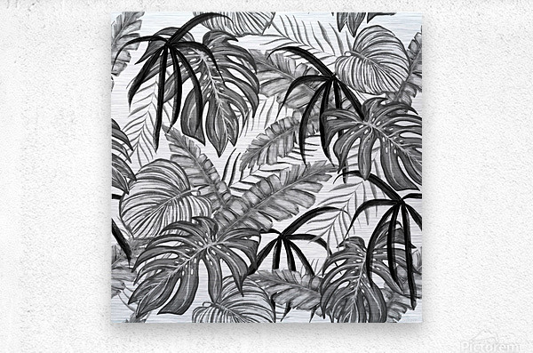 drawing leaves nature picture  Metal print