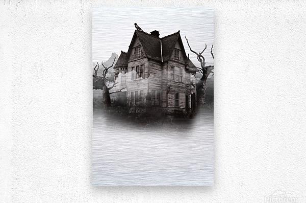 haunted night building  Metal print