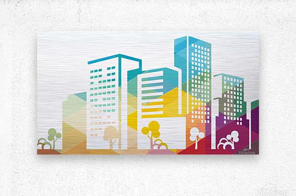 silhouette cityscape building icon color city  Metal print